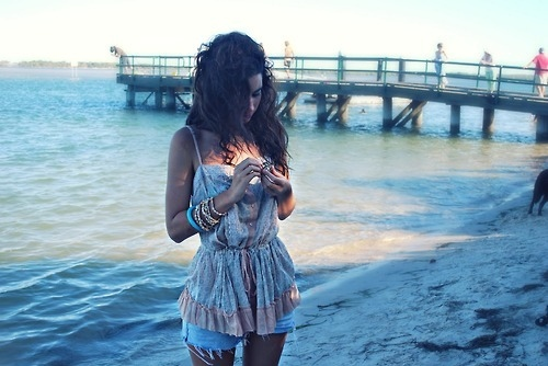 beach, boho, bracelets, brunette, girl, hair