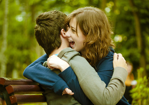 bench, couple, happy, hugging, sitting, smiling, trees