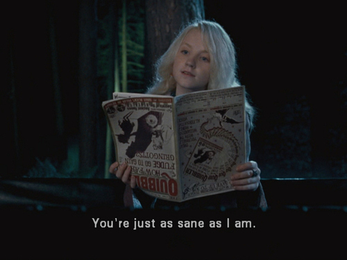 funny, harry potter, luna, movie quote, sane, subtitles