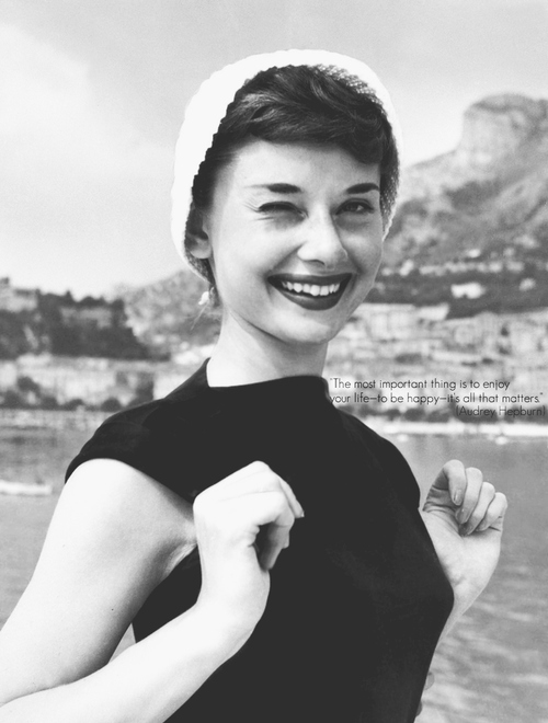 all, audrey, audrey hepburn, b&w, enjoy, happy