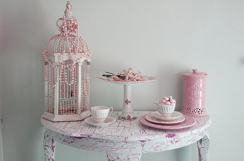 birdcage, cup, cute, pears, pink, table, tea