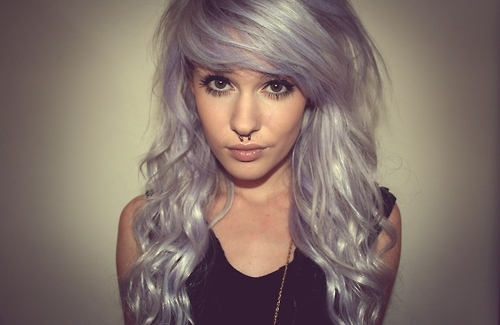 credit her, lilac hair, livewithoutregretxx, pastel hair, piercing, purple hair, scene, scene girl, septum, white hair