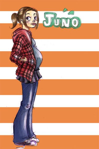 drawing, ellen page, flannel, juno, orange, ponytail