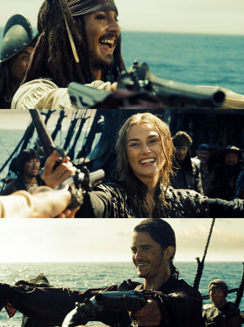 beautiful, elizabeth swann, hot, jack sparrow, johnny depp, keira knightley, lovely, orlando bloom, pirate, pirates, pirates of the caribbean, potc, sexy, smile, smiling, will turner