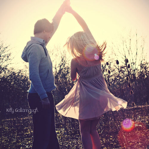 bokeh, boy and girl, couple, cute, dance, dress, kitty gallannaugh, love, sun