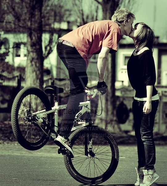 bike, boy, cute, girl, kiss, love