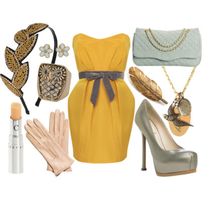 birds, blog, blue, brooch, dream closet, dress, fashion, feather, gloves, gold, heels, lovedresses, moon face, outfit, owl, polyvore, pumps, sea foam, yellow