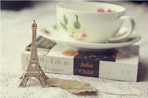 book, cup of tea, france, girlish, julia child, my life in france, paris, tea