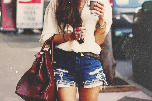 coffee, cut offs, girl, hair, jean shorts, pretty, purse, short shorts, shorts, starbucks, style