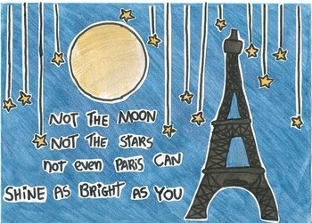 love, moon, paris, quote, stars