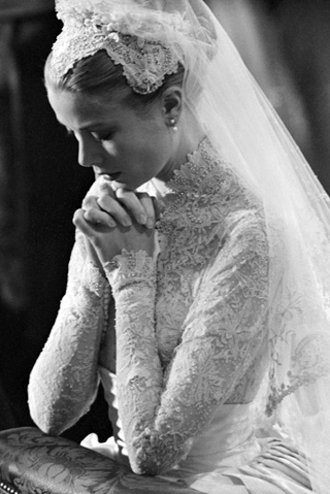 b&w, black & white, bride, grace kelly, pretty, vintage