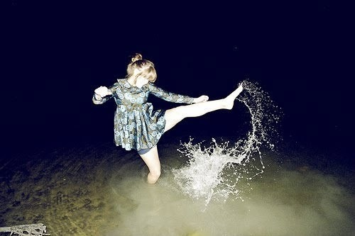 beautiful, dress, girl, kick, splash, water