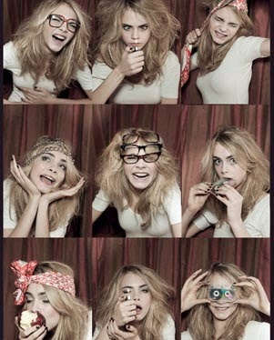 big hair, blonde, cara delevigne, cute, funny, geek glasses