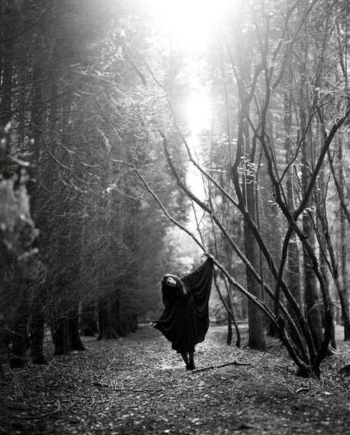black, cape, cult, dance, forest, girl, goth, gothic, mgic, model, photography, tree, trees, white, witch, woods