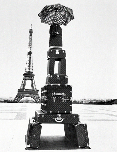black white, eiffel, eiffel tower, france, louis vuitton, luggage