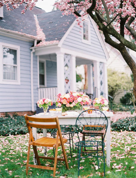 cherry blossom, cottage, floral, flower, flowers, house, pretty, table