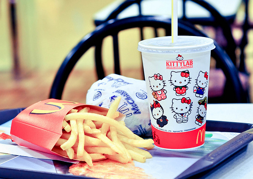 food, french fries, hello kitty, kittylab, mc chicken, mc donalds