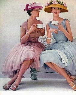 1950s, 50s, afternoon tea, blue, cha, feminine