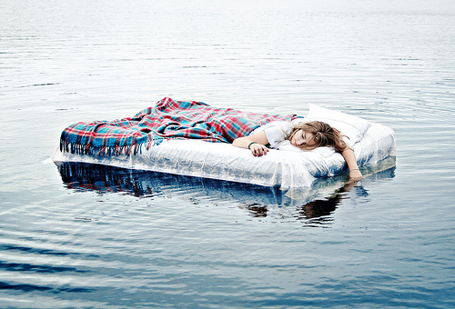bed, fashion, floating, girl, pretty, sleep