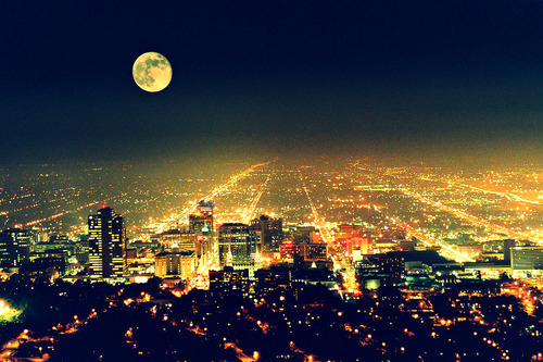 city, lights, moon, night, photography, town