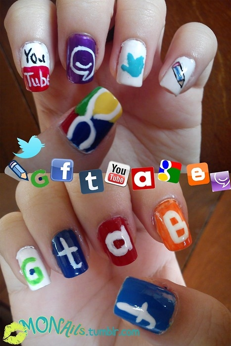 facebook, google, internet, mal feita, nail art, nails - image #51159