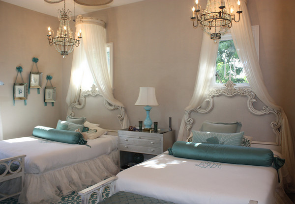 bed, bedroom, blue, chandelier, decor, double bedroom