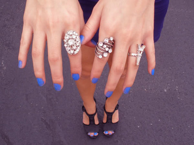 blue, fashion, gir;, hand, nail polish, nails, rings, shoes
