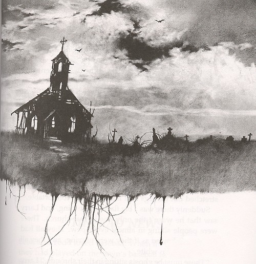 church, creepy, dark, gothic, graveyard, illustration, neva, scary