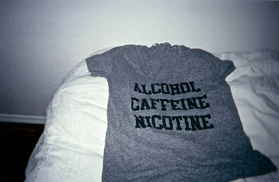 alcohol, black, black and white, caffeine, cute, fashion, grey, nicotine, photo, photography, shirt, style, text, top, white