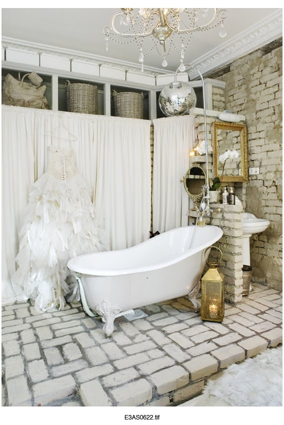 bathroom, bathtub, brick, chandelier, diso ball, interior design, room, tub