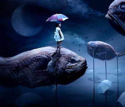 blue, digital art, fantasy, fish, girl, moon