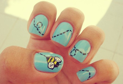 bee nails, blue, bumble bee, cute, nails, trail