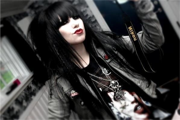 black hair, emo, girl, goth, gothic, pretty