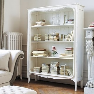 books, interior, pretty, room, shabby chic, shelf, white