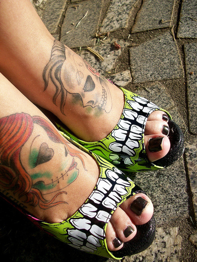 calavera, iron fist, nail, old school, peep toe, rockabilly