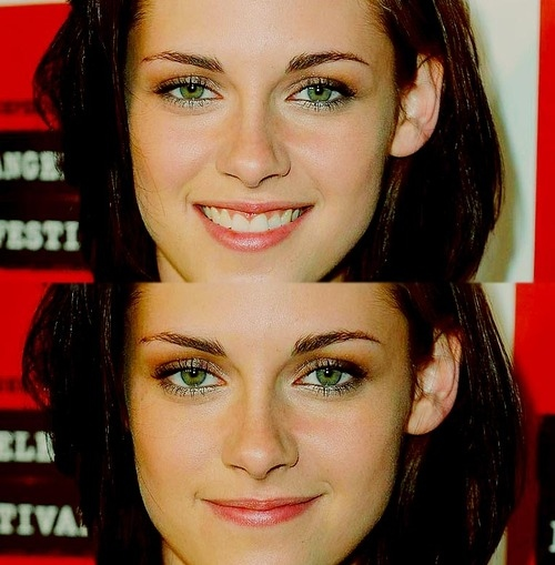 beautiful, bella, brunette, green, green eyes, kristen, kristen stewart, not pretty in any way, smile, twilight