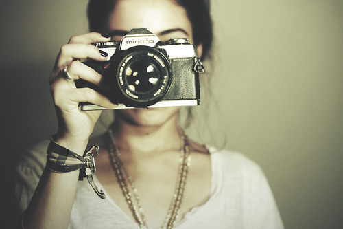 black nails, camera, capture you, fashion, girl, minolta camera