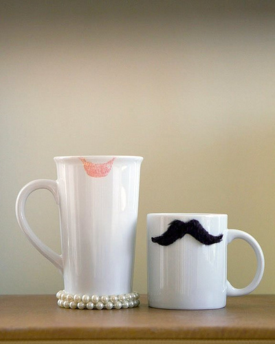 cute, hers, his, his and hers, lipstick, man, moustache, mug, woman