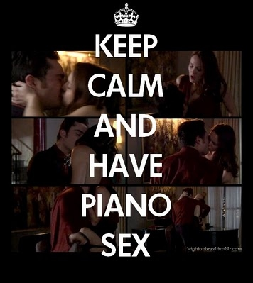 beautiful, blair, blair waldorf, bluck, calm, chuck, chuck bass, couple, gossip girl, keep calm, leighton meester, love, me come chuck, piano, q isso heim, sex, trust