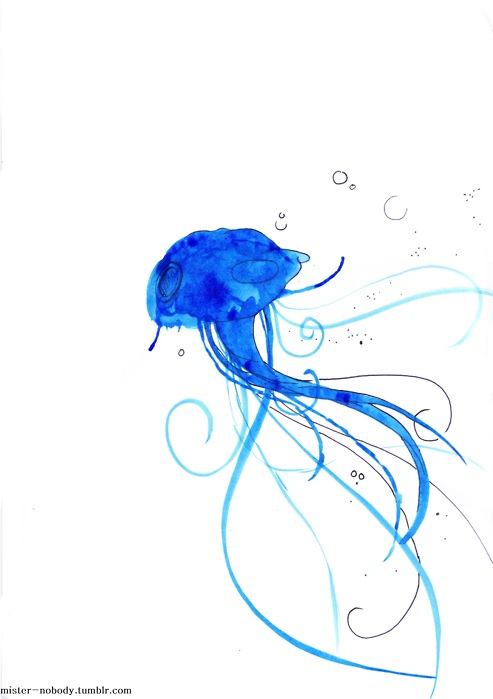 art, blue, bubbles, drawing, fish, illustration, ink, jelly fish, jellyfish, painting, tenticles, water