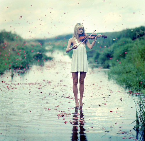 beautifull, blonde, dress, flute, girl, music