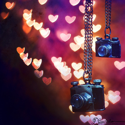 bokeh, camera, cameras, heart, necklace, pendant