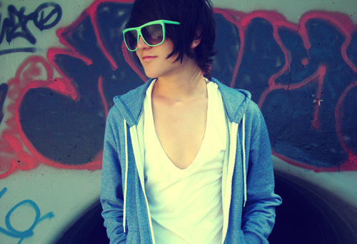 boy, cute, glasses, hair, neon, neon green