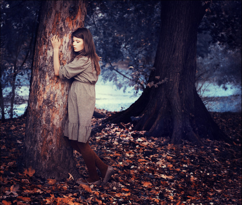 brunette, deviant art, dress, fall, forest, girl