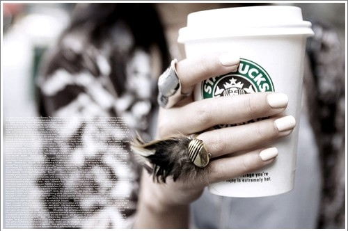 coffee, girl, nails, ring, starbucks