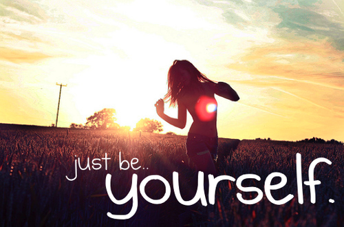 be yourself, beautiful, field, girl, happy, inspirational, inspire, light, pretty, sun, sunlight, typography, yay