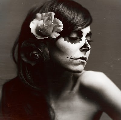 black and white, day of the dead, dia de los muertos, face, flowers, girl, makeup, paint, roses, skeleton, skin, skull