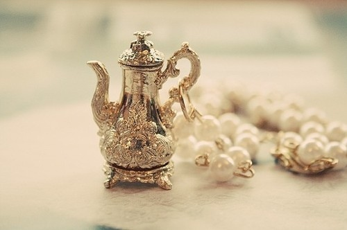 charm, pearls, pendant, pretty, tea, teapot, tiny