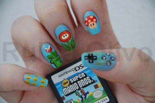 nail art, nail., nails, nintendo, nintendo ds, super mario bros