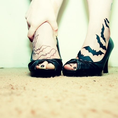 bats, girl, heels, high heels, pale, tattoo